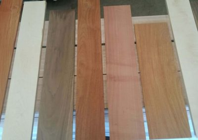 Padouk, White Ash, American Walnut, Loas Rosewood, Myrtle and New Guinea Rosewood